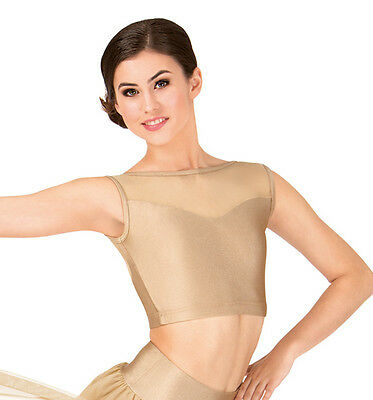 New Double Platinum  Adult size Large   Gold  Emballe lace   dancewear top N7241