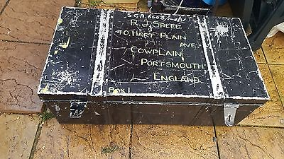Large aluminium vintage military storage trunk chest Industrial steampunk