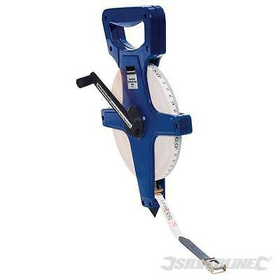 Silverline Surveyors 100m Open Reel Measuring Tape 100 Metre Metric Imperial