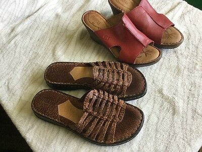 Women's Size 8 Born Shoes Lot Red Brown Slip Ones