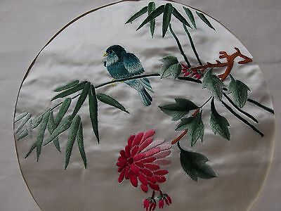 antique vintage Chinese silk hand embroidery birds cushion front