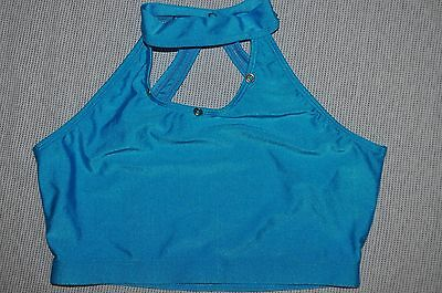 New Bal Togs  Adult medium -large  halter turquoise dance nylon spandex top