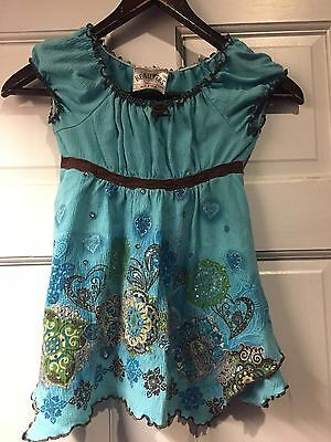 Girls Blue Beautees Size 6 Flower Sparkle Flowy Short Sleeve Shirt With Gold