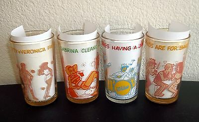 "Lot of 4 Welch's Jelly Glasses - 1970""s Archie Glasses"
