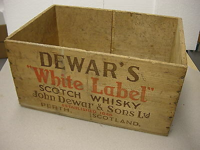 Vintage Wooden DEWAR'S WHITE LABEL SCOTCH WHISKY Crate PEARTH SCOTLAND