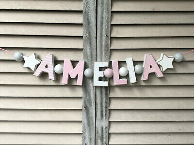 """""""amelia"""" Wooden Letters Baby Shower Nursery Decor Personalised Name Shabby Chic"""