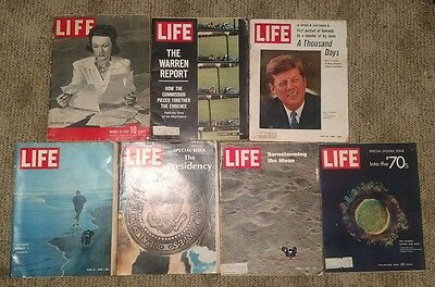 lot of 7 vintage Life magazines 1941 1964 1965 1968 1969 1970 Kennedy back issue