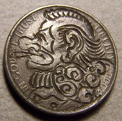 """Hobo Nickel, Engraved, Carved ,Scrimshaw,Coin Art ,"""" CLOWN of HEARTS,...1 of 4."""""""