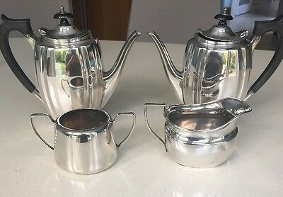 Vintage 1920-1940s E & Co Silver Plated Tea and Coffee Pot Set