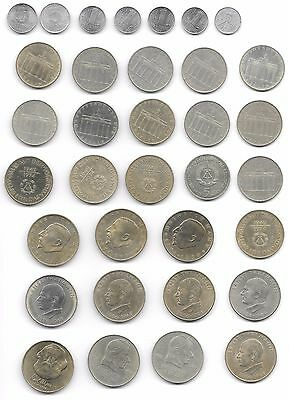 East Germany Lot Of 34 Coins Pfg To 20 Mark