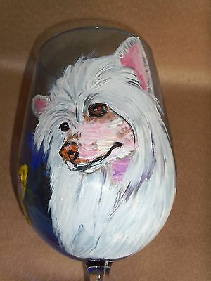 HP Chinese Crested powderpuff WINE GLASS goblet painting hand painted dog ART