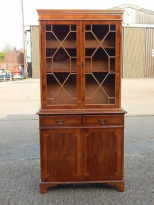 Georgian style tall yew wood wall unit bookcase cabinet with double glazed doors