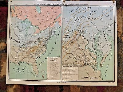 Vintage 30s 40s Johnson Nystrom SG16 School Civil War Wall Map 4 x 3 Foot