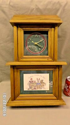 "1505M Vtg 20"" Wood Case Clock ""Country Friends Are Best"" Mantle/Wall SECOND HAND"