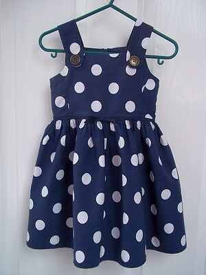 Next Baby Girl Dress Blue + White Spots 12-18m Toddler Dungaree style pinafore