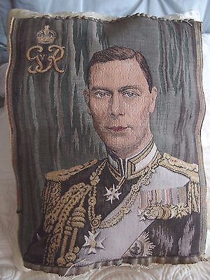 Antique vintage tapestry King George V cushion front picture
