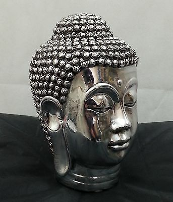 Chrome Silver Buddha Head Sculpture Ornament indoor Decor Home