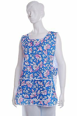 New Floral Button Tabard Catering, Workwear Cleaning  Sizes 8 to 26 UK Made clai
