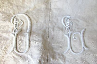 "BEAUTIFUL ANTIQUE FRENCH MONOGRAMMED SLUBBY OATMEAL METIS LINEN SHEET ""DB"" c1920"