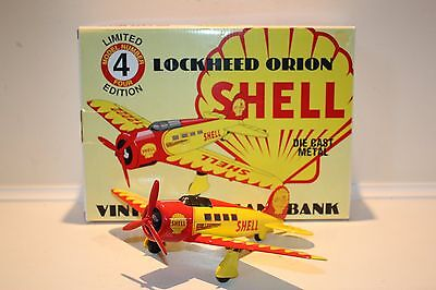 1994 Limited Edition Model #4 SHELL Die Cast Metal Airplane Bank