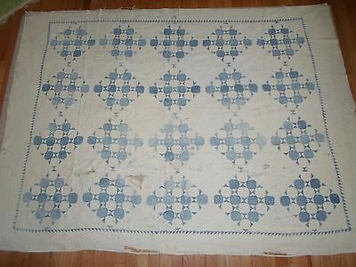 Vintage Hand Quilted SHABBY BLUE & WHITE PATCHWORK CUTTER quilt 1930's