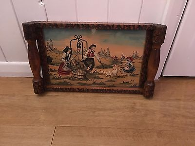 Old Antique Vintage Hand Carved Wooden Tray By French Artist Jean Claude Boli
