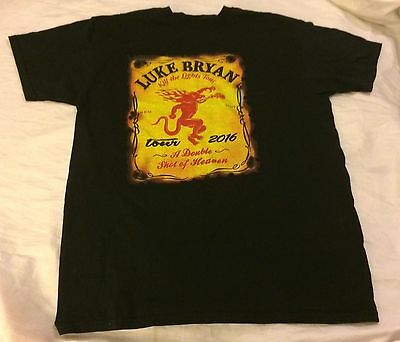 Luke Bryan Kill The Lights Black T-Shirt  M Fireball Whiskey Concert Tour 2016