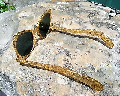 Vintage 1950's Retro Funky Cat Eye SUNGLASSES, Gold Glitter in Lucite, MUST SEE!