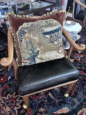 17th century Flemish Tapestry & Mohair Pillow W Down Insert