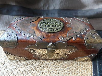 Antique Shanghai China Wooden Box Brass Hinged Lid REDUCED
