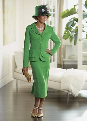 Ashro Samantha Skirt Suit Green Beaded NEW NWT Rhinestone Buttons