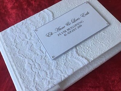 Personalised Vintage Wedding Engagement Guest Book White Lace BOXED