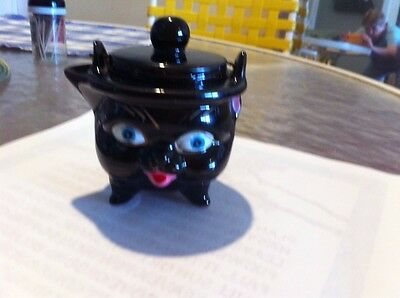 Vintage Red Ware black cat creamer with lid