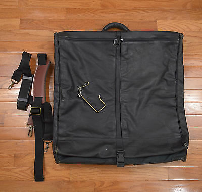 l l bean green canvas brown leather garment bag travel