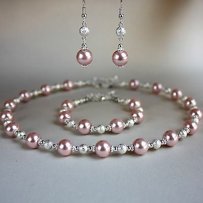Blush pink large pearls collar necklace silver wedding bridesmaid jewellery set