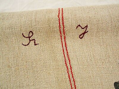 22x51 Vtg Antique MONOGRAM RED STRIPE European HEMP LINEN FEED SACK GRAIN BAG