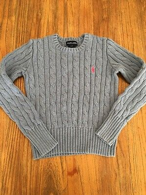 Ralph Lauren Kids S 7 Cable Knit Sweater Pullover Blue Pink Polo Unisex