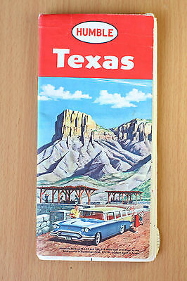 Vintage Map of Texas - Humble Oil & Gas Co from 1950s 50s