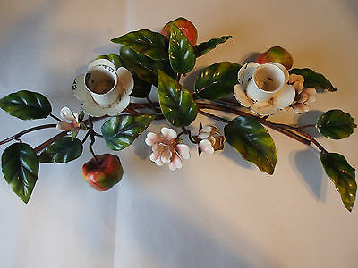 Vtg ITALY Tole Hand Painted Fruits Flowers Candlesticks Table Centerpiece 15""