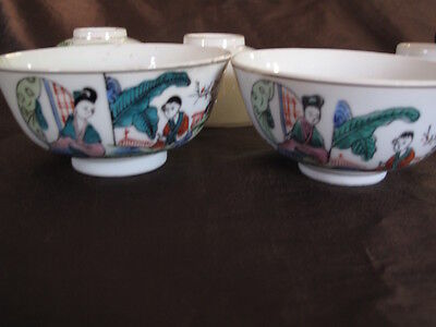 5 Antique Chinese Famille Rose Porcelain Bowls Ladies, Calligraphy & Marked