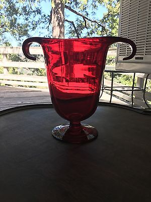 Antique Hand Blown Ruby Red Vase 1920s in Pristine Condition SHIPS FREE