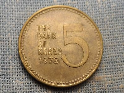 Korea  1972   5  Won  Turtle Boat Coin   KM#5a