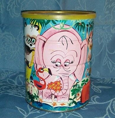 VINTAGE~Folger's Coffee Can-Zoo/Jungle Animals-Lid AND elephant insert