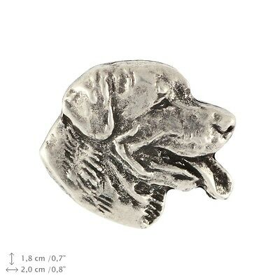 Rottweiler head, silver covered pin, high quality Art Dog USA