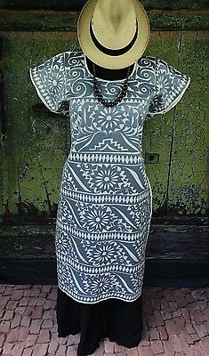 Collector Quality, Silver & Cream Hand Embroidered Huipil Dress, Jalapa Mexico