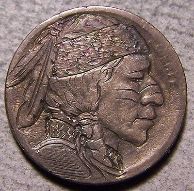"""Hobo Nickel, Engraved, Carved ,Scrimshaw,Coin Art , """"  The BUFFALO  BAND  ,.. """""""