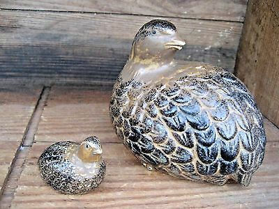 Vintage Quail Bird Figurines Mama Bird & Baby Bird Decorative Collectible Decor