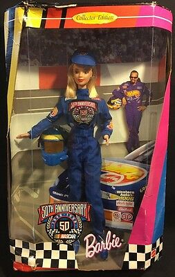 Barbie Collector Edition 50th Anniversary NASCAR Racing Barbie Doll 1998 New