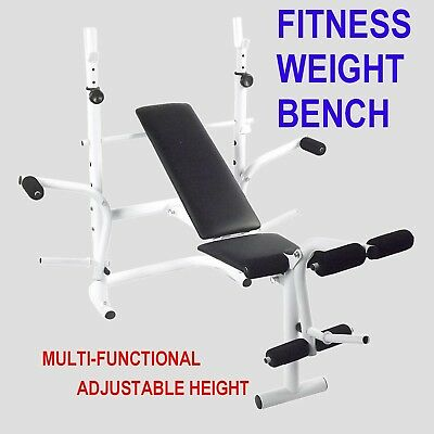 Bench Press Multi Station Weight Curl Home Gym Exercise Weights Equipment Flat