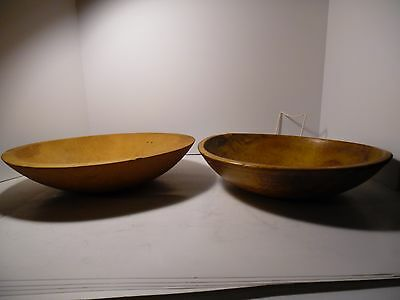 Lot S Wooden Wood Bowls 2 Old 13 In  Rim